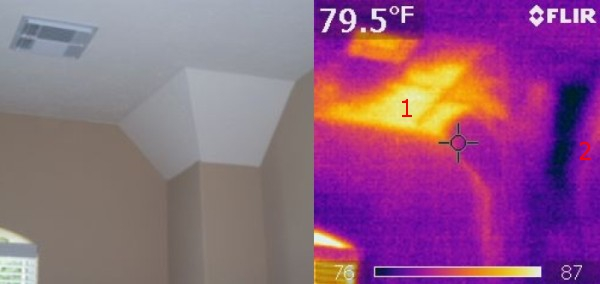 Inadequate insulation and a plumbing leak are seen in this thermal image