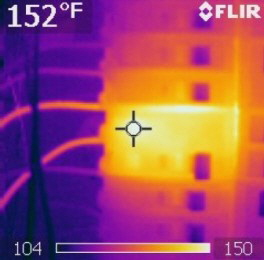 An infrared camera makes it easy to find overheating electrical components.