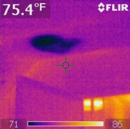 The dark spot in the thermal image is water from a roof leak.